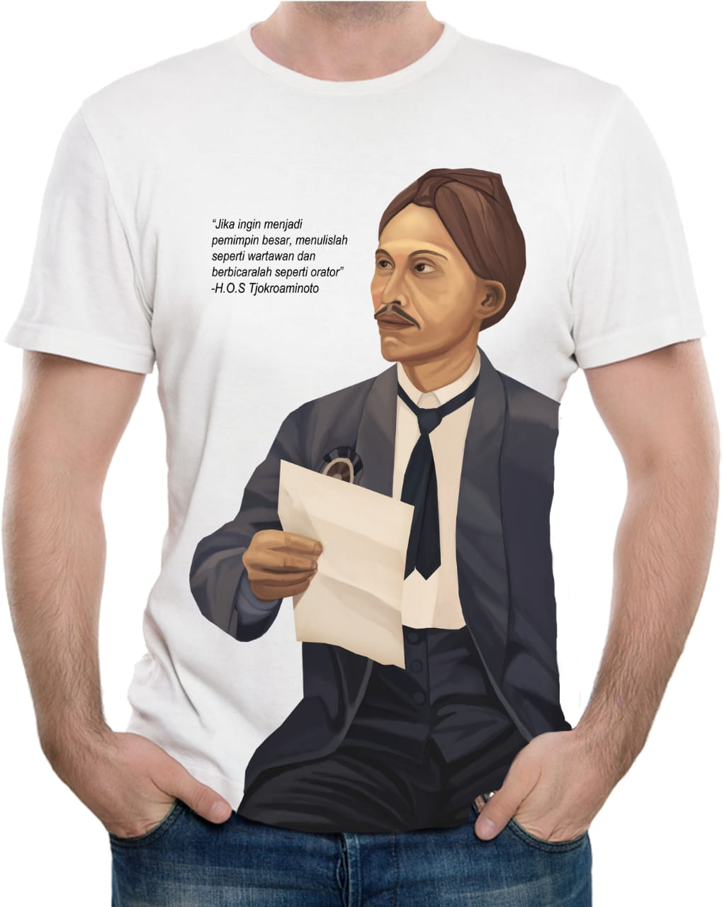 Tshirt Founding Father H.O.S. Tjokroaminoto (White) - LIMITED EDITION