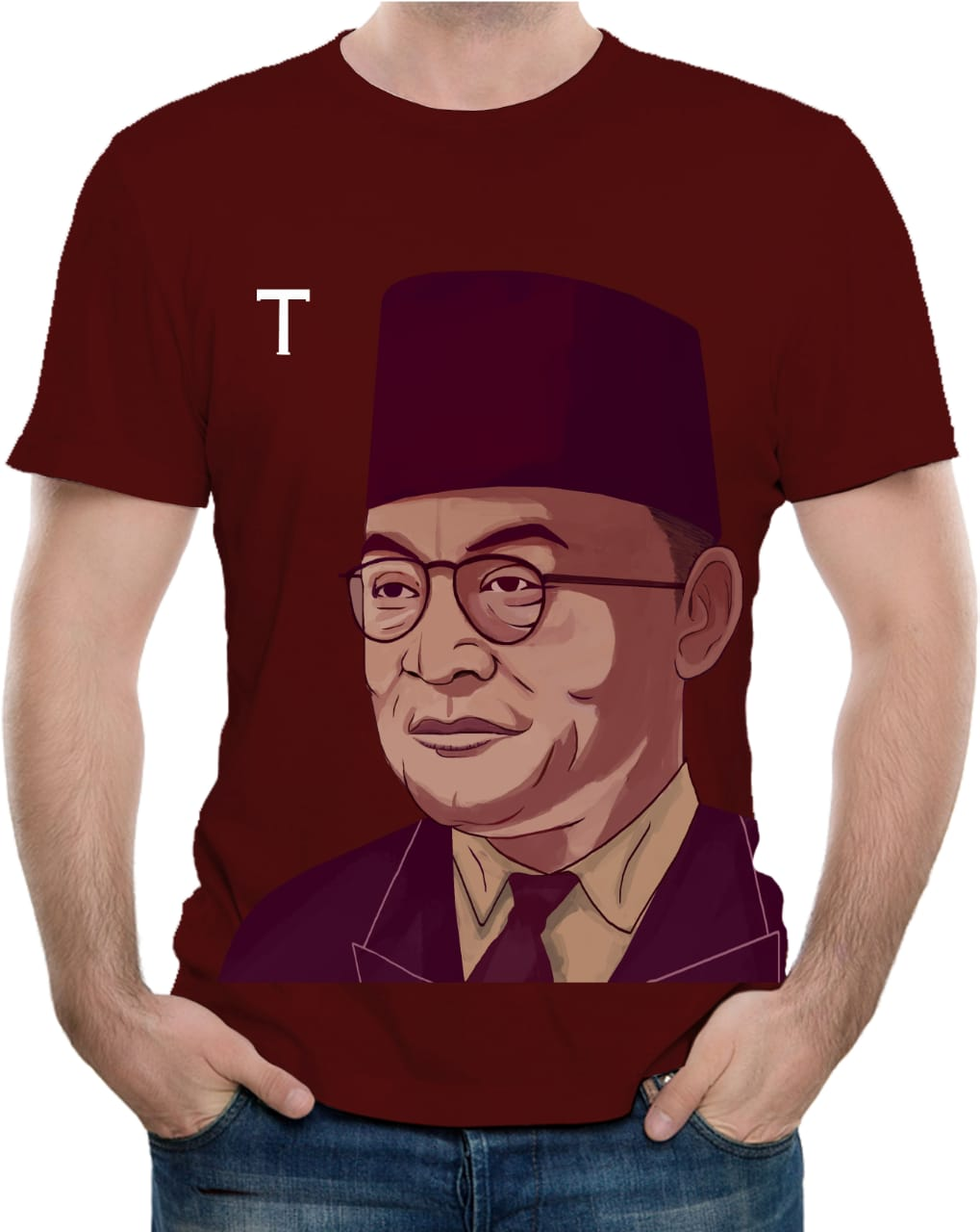 Tshirt Founding Father Bung Hatta (Maroon) - LIMITED EDITION